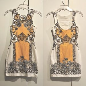Baroque Print Bodycon Dress